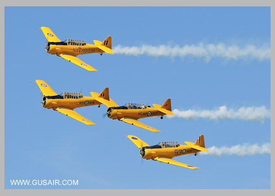 4 plane formation of North American Harvards from the CHAA
