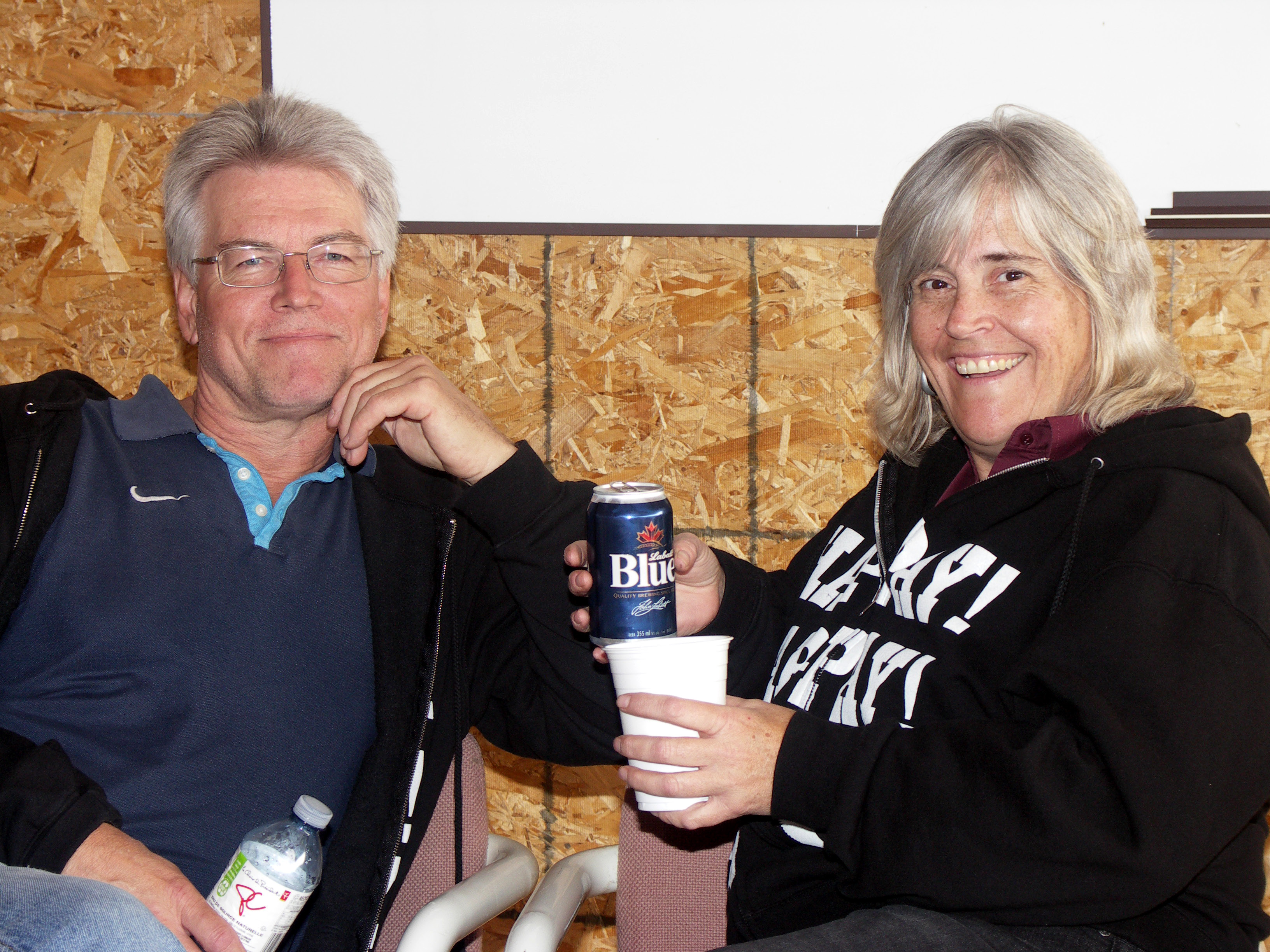 Karen and Dieter, always ready to pitch in for the club..taking a much deserved break from hangar clean up.